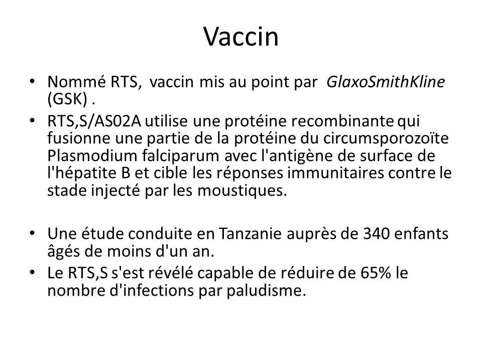 Vaccin Nommé RTS, vaccin mis au point par GlaxoSmithKline (GSK). RTS,S/AS02A utilise une protéine recombinante qui fusionne une partie de la protéine