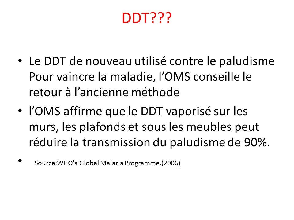 DDT??? Le DDT de nouveau utilisé contre le paludisme Pour vaincre la maladie, lOMS conseille le retour à lancienne méthode lOMS affirme que le DDT vap