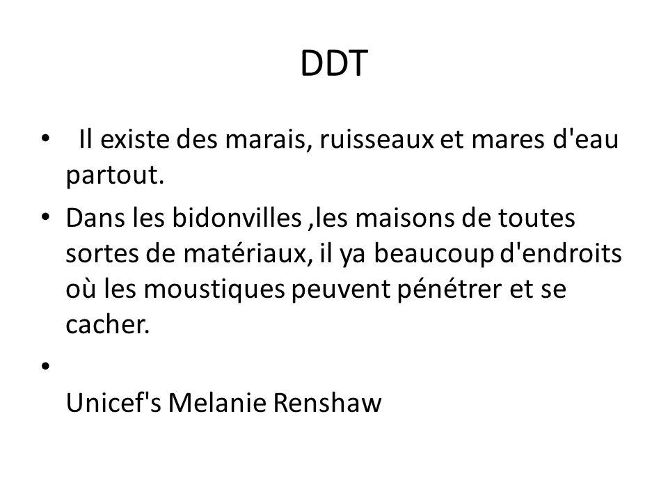 DDT Il existe des marais, ruisseaux et mares d'eau partout. Dans les bidonvilles,les maisons de toutes sortes de matériaux, il ya beaucoup d'endroits