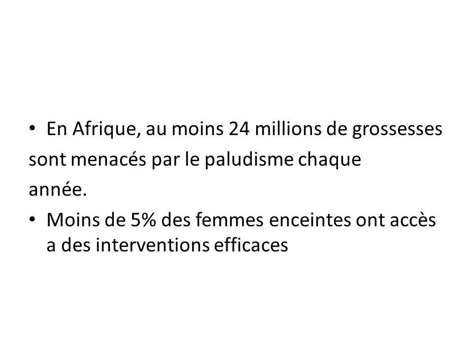 En Afrique, au moins 24 millions de grossesses sont menacés par le paludisme chaque année. Moins de 5% des femmes enceintes ont accès a des interventi