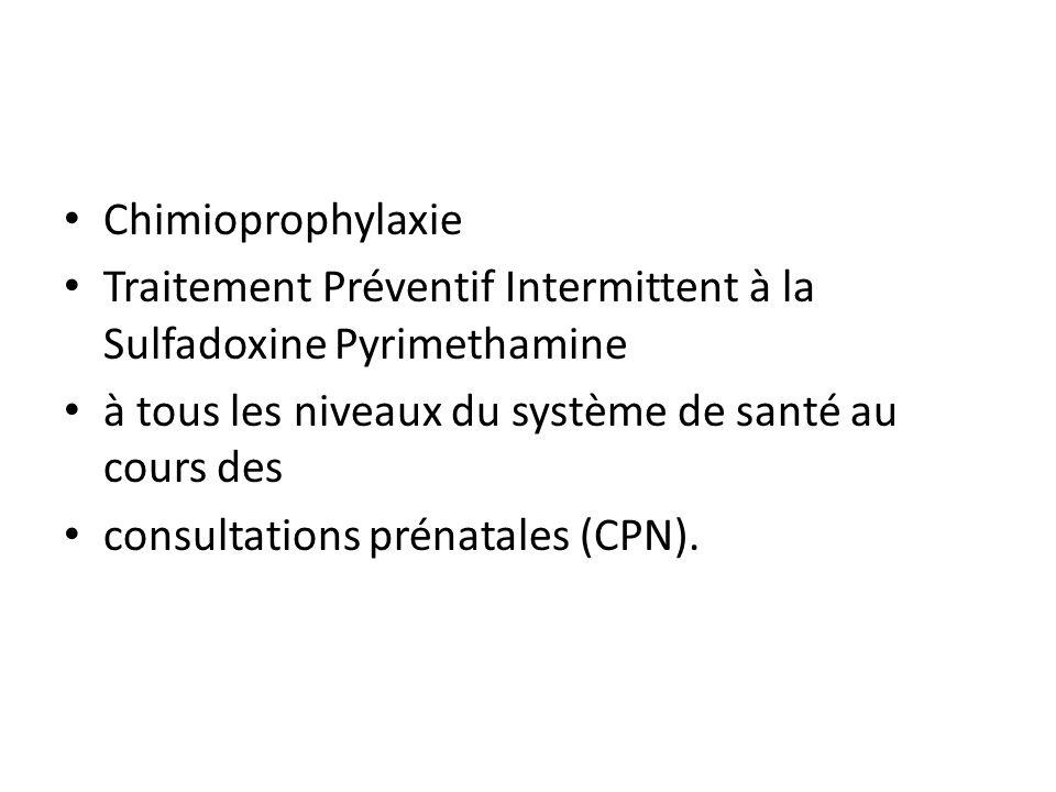 Chimioprophylaxie Traitement Préventif Intermittent à la Sulfadoxine Pyrimethamine à tous les niveaux du système de santé au cours des consultations p