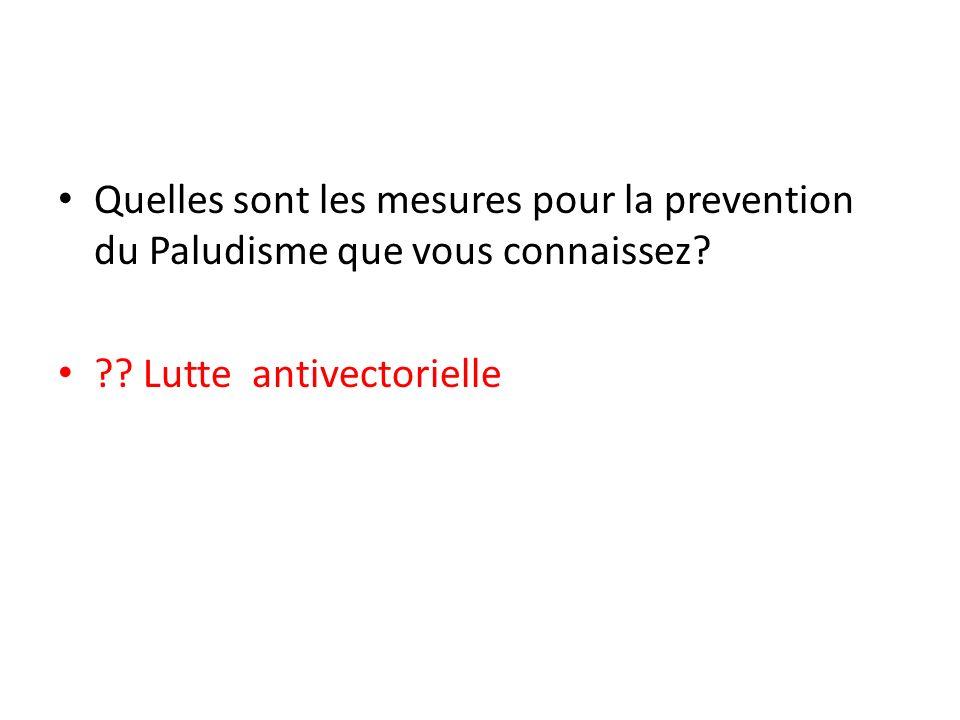 Quelles sont les mesures pour la prevention du Paludisme que vous connaissez? ?? Lutte antivectorielle