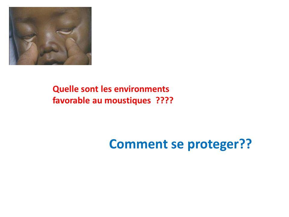 Quelle sont les environments favorable au moustiques ???? Comment se proteger??