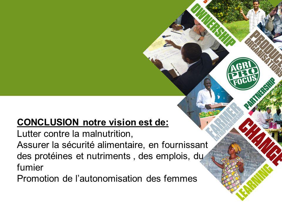CONCLUSION notre vision est de: Lutter contre la malnutrition, Assurer la sécurité alimentaire, en fournissant des protéines et nutriments, des emploi
