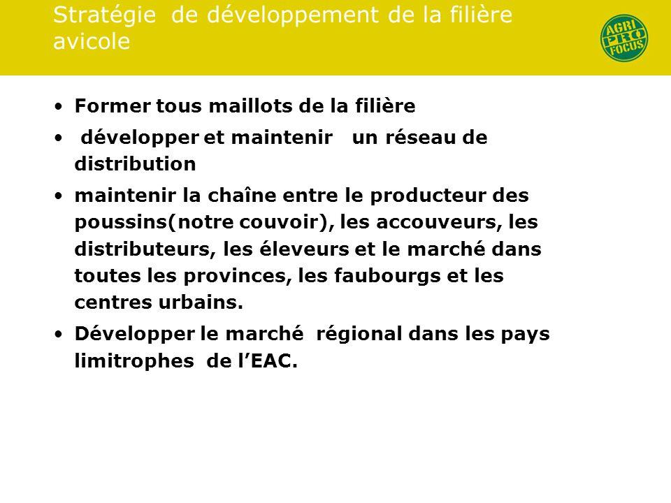 Stratégie de développement de la filière avicole Former tous maillots de la filière développer et maintenir un réseau de distribution maintenir la cha
