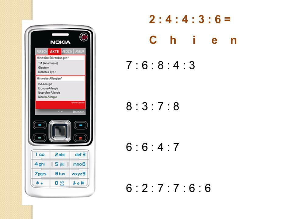 2 : 4 : 4 : 3 : 6 = C h i e n 7 : 6 : 8 : 4 : 3 8 : 3 : 7 : 8 6 : 6 : 4 : 7 6 : 2 : 7 : 7 : 6 : 6