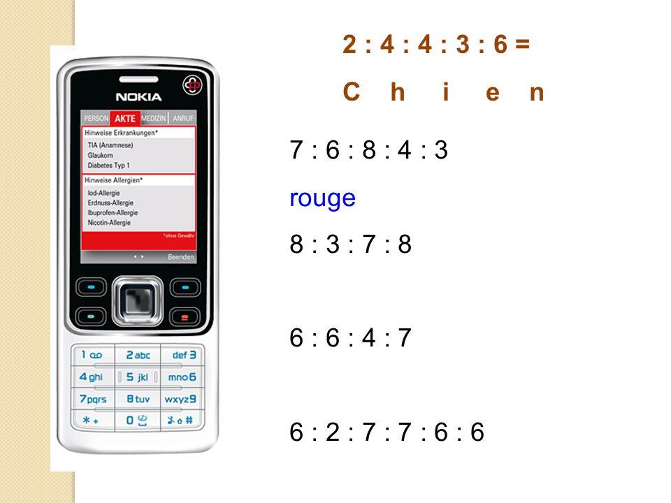 2 : 4 : 4 : 3 : 6 = C h i e n 7 : 6 : 8 : 4 : 3 rouge 8 : 3 : 7 : 8 6 : 6 : 4 : 7 6 : 2 : 7 : 7 : 6 : 6
