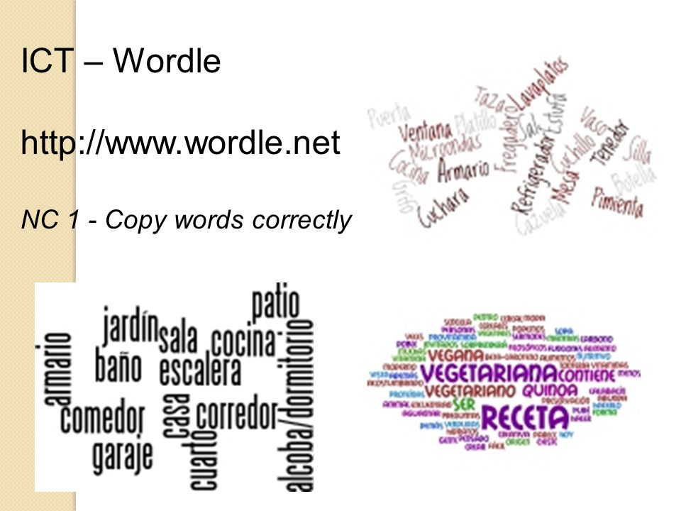 ICT – Wordle http://www.wordle.net NC 1 - Copy words correctly