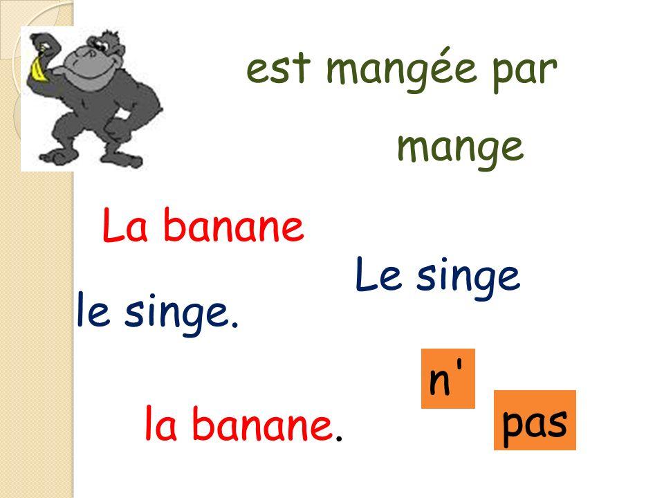 pas est mangée par Le singe mange La banane la banane. le singe. n