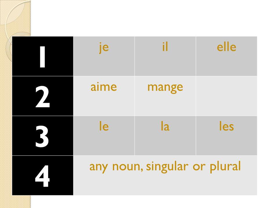 1 jeilelle 2 aimemange 3 lelales 4 any noun, singular or plural