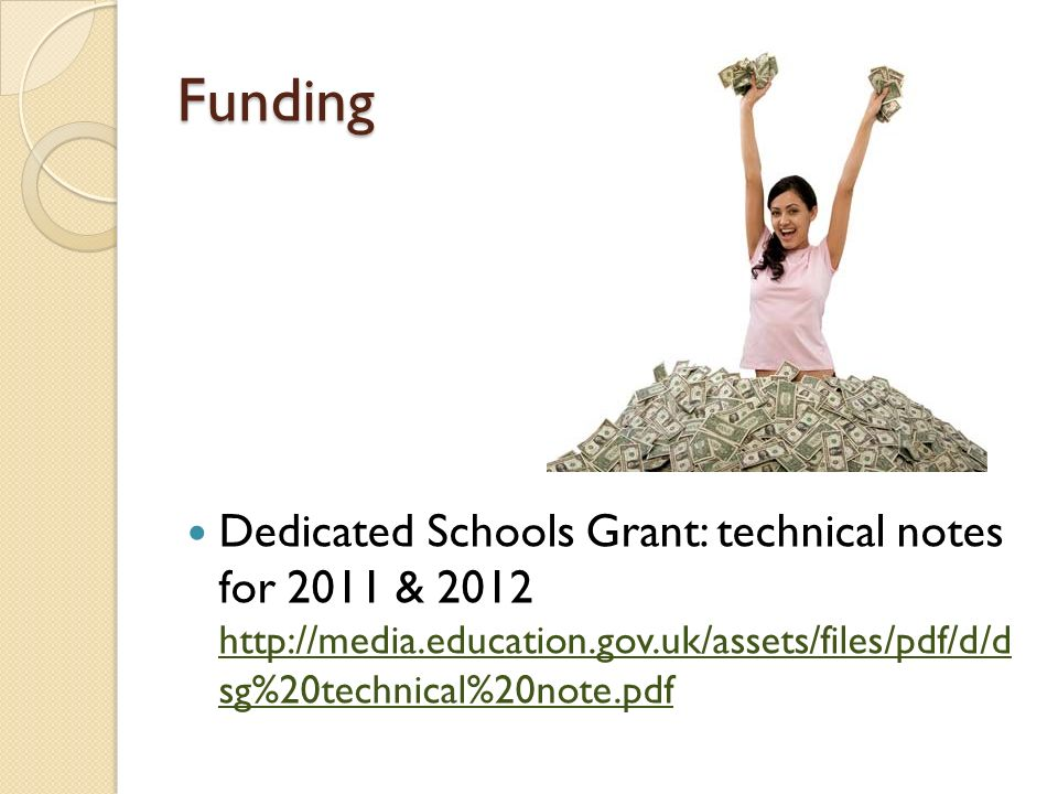 Funding Dedicated Schools Grant: technical notes for 2011 & 2012 http://media.education.gov.uk/assets/files/pdf/d/d sg%20technical%20note.pdf http://m