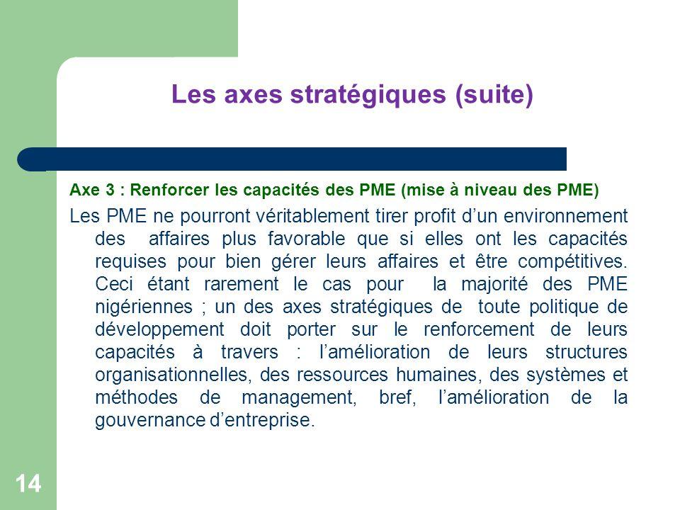 Les axes stratégiques (suite) Axe 3 : Renforcer les capacités des PME (mise à niveau des PME) Les PME ne pourront véritablement tirer profit dun envir
