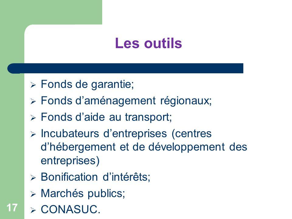 Les outils Fonds de garantie; Fonds daménagement régionaux; Fonds daide au transport; Incubateurs dentreprises (centres dhébergement et de développeme