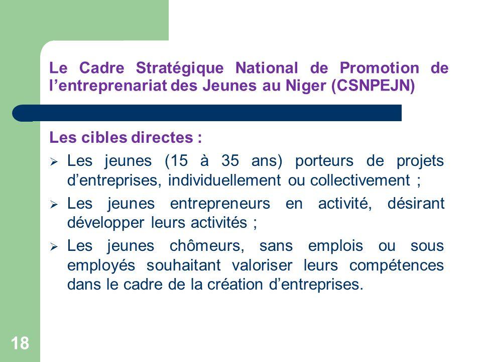Le Cadre Stratégique National de Promotion de lentreprenariat des Jeunes au Niger (CSNPEJN) Les cibles directes : Les jeunes (15 à 35 ans) porteurs de