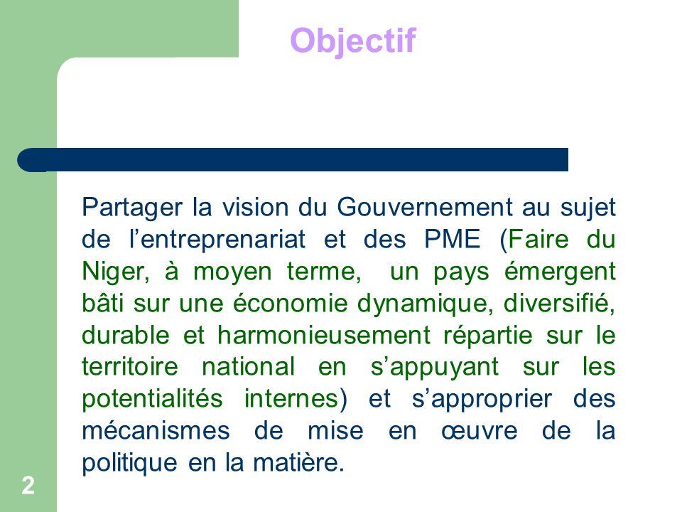 Objectif 2 Partager la vision du Gouvernement au sujet de lentreprenariat et des PME (Faire du Niger, à moyen terme, un pays émergent bâti sur une éco