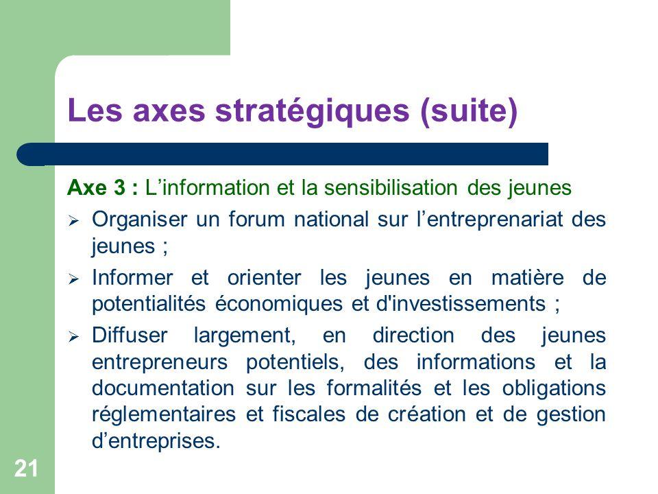 Les axes stratégiques (suite) Axe 3 : Linformation et la sensibilisation des jeunes Organiser un forum national sur lentreprenariat des jeunes ; Infor