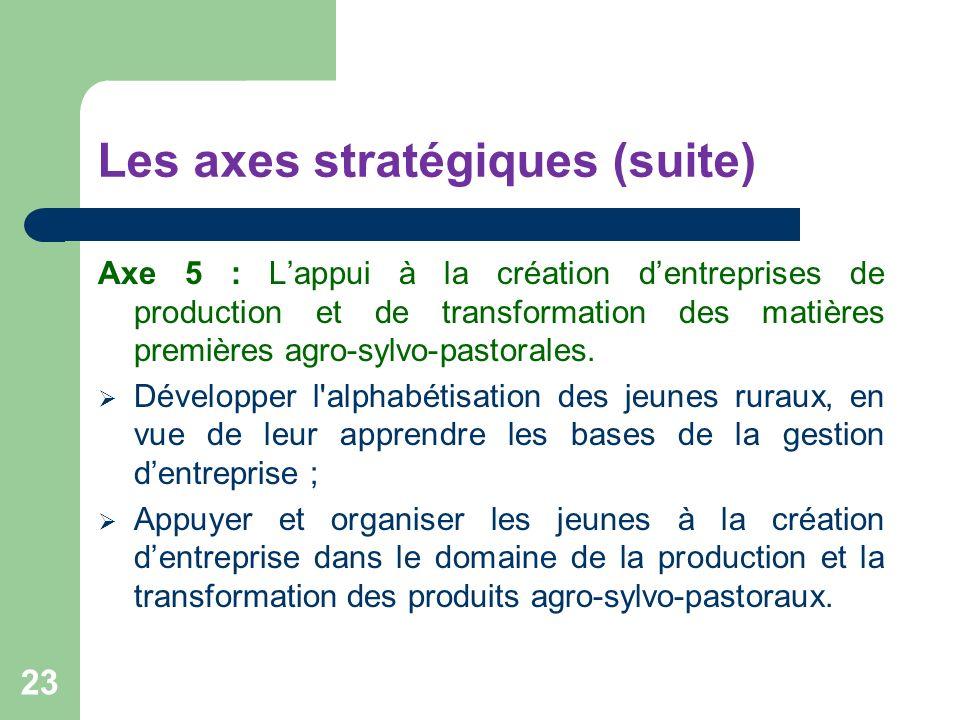 Les axes stratégiques (suite) Axe 5 : Lappui à la création dentreprises de production et de transformation des matières premières agro-sylvo-pastorale