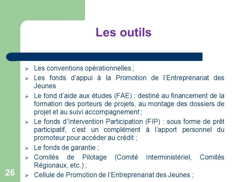 Les outils Les conventions opérationnelles ; Les fonds dappui à la Promotion de lEntreprenariat des Jeunes Le fond daide aux études (FAE) : destiné au
