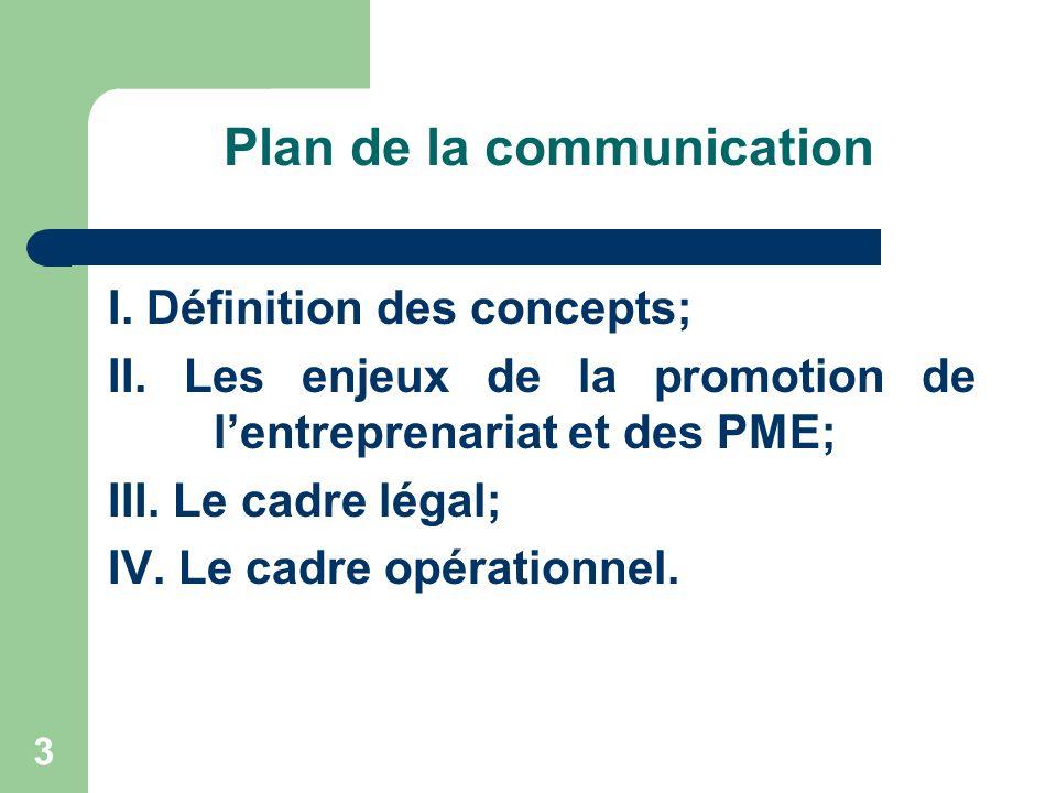 Plan de la communication I. Définition des concepts; II. Les enjeux de la promotion de lentreprenariat et des PME; III. Le cadre légal; IV. Le cadre o