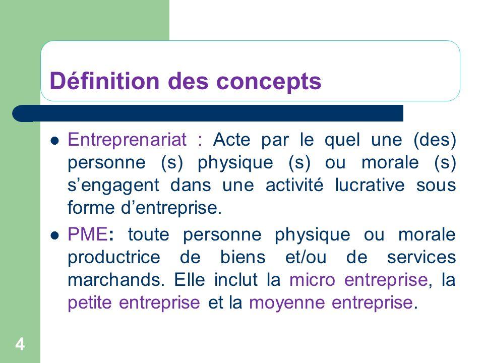 Définition des concepts Entreprenariat : Acte par le quel une (des) personne (s) physique (s) ou morale (s) sengagent dans une activité lucrative sous