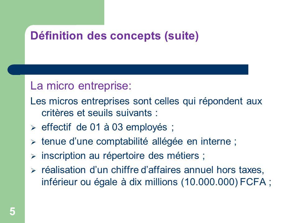 Définition des concepts (suite) 5 La micro entreprise: Les micros entreprises sont celles qui répondent aux critères et seuils suivants : effectif de