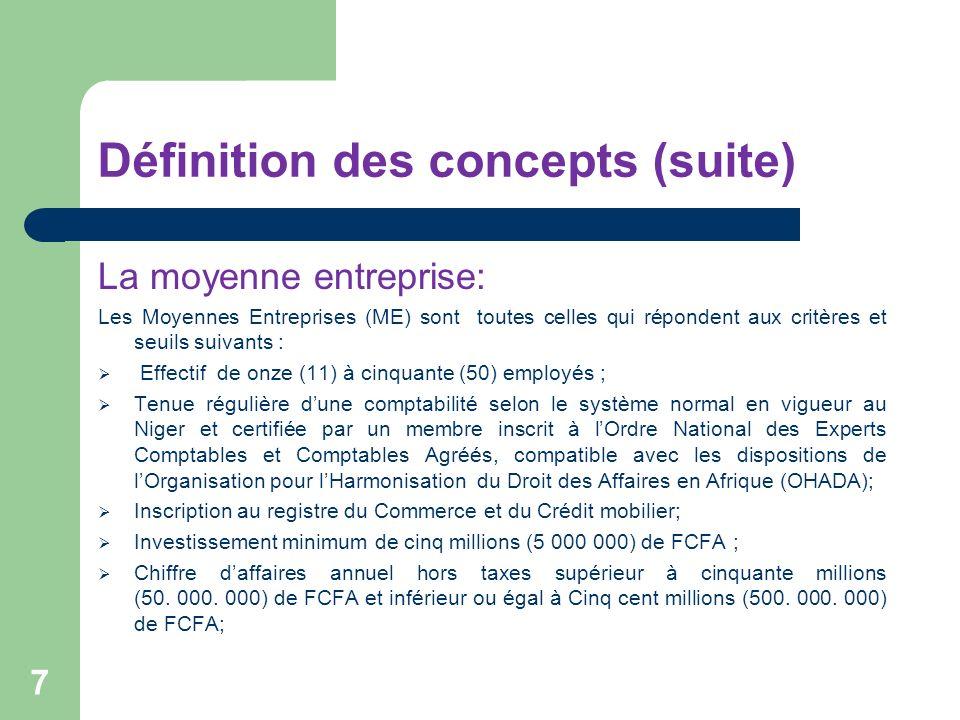 Définition des concepts (suite) La moyenne entreprise: Les Moyennes Entreprises (ME) sont toutes celles qui répondent aux critères et seuils suivants