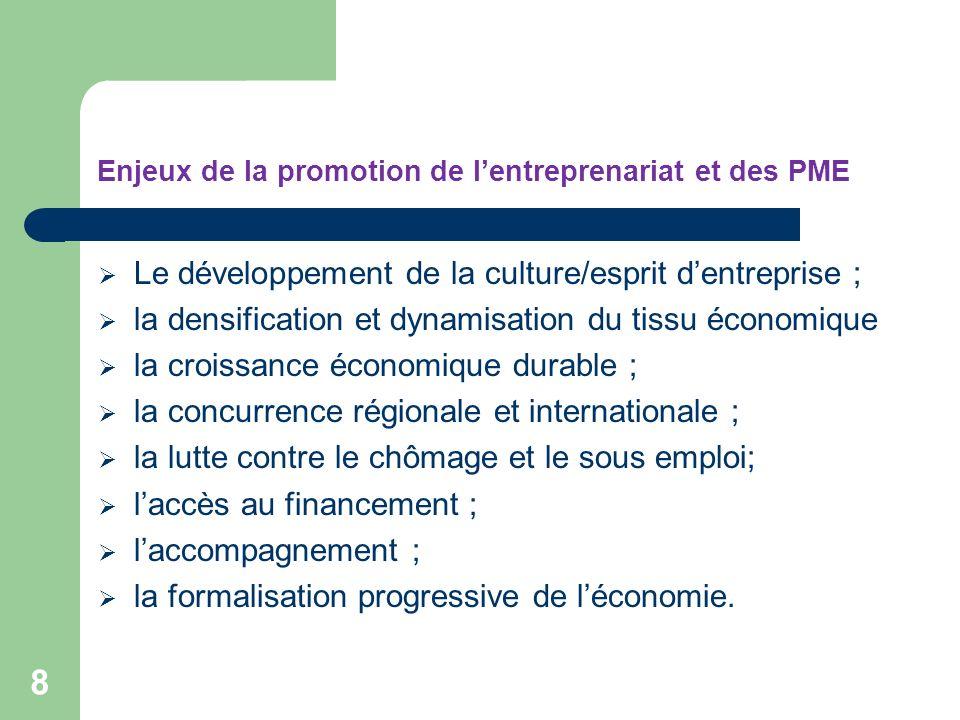 Enjeux de la promotion de lentreprenariat et des PME 8 Le développement de la culture/esprit dentreprise ; la densification et dynamisation du tissu é