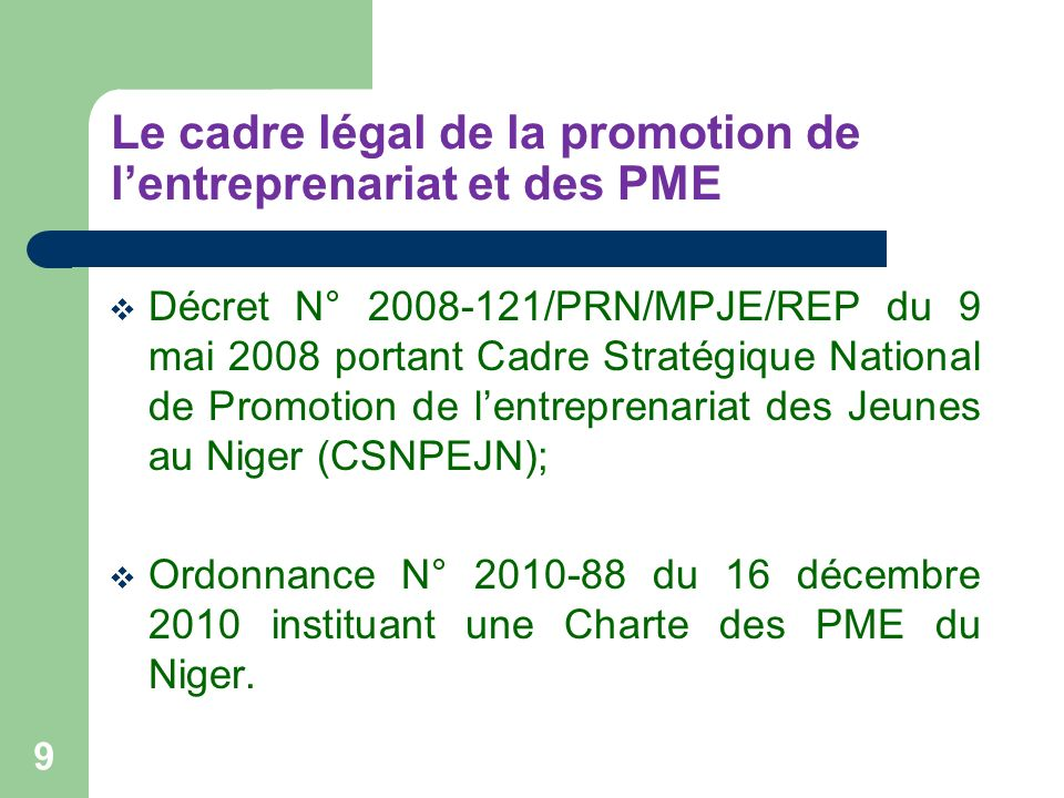 Le cadre légal de la promotion de lentreprenariat et des PME Décret N° 2008-121/PRN/MPJE/REP du 9 mai 2008 portant Cadre Stratégique National de Promo