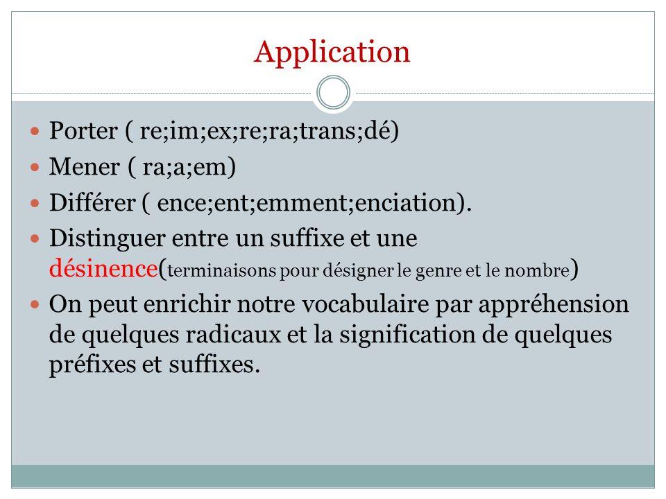 Application Porter ( re;im;ex;re;ra;trans;dé) Mener ( ra;a;em) Différer ( ence;ent;emment;enciation). Distinguer entre un suffixe et une désinence( te