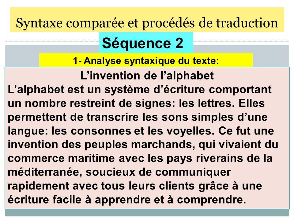 Syntaxe comparée et procédés de traduction Séquence 2 1- Analyse syntaxique du texte: Linvention de lalphabet Lalphabet est un système décriture compo