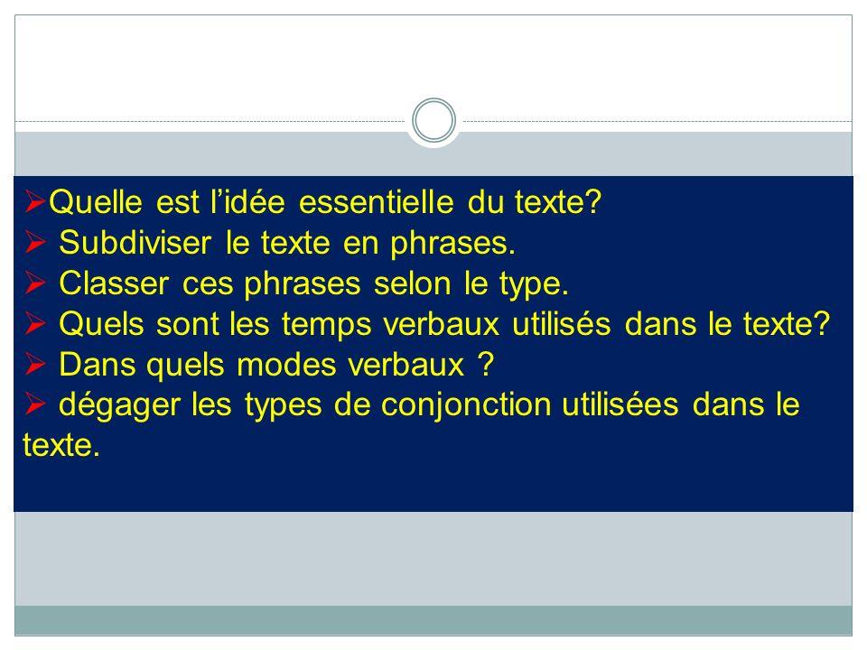 Quelle est lidée essentielle du texte? Subdiviser le texte en phrases. Classer ces phrases selon le type. Quels sont les temps verbaux utilisés dans l