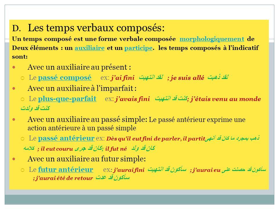 D. Les temps verbaux composés: Un temps composé est une forme verbale composée morphologiquement de Deux éléments : un auxiliaire et un participe. les