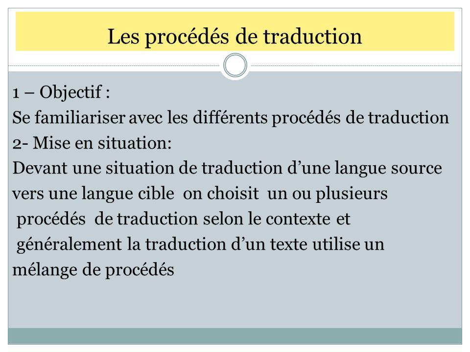 Les procédés de traduction 1 – Objectif : Se familiariser avec les différents procédés de traduction 2- Mise en situation: Devant une situation de tra