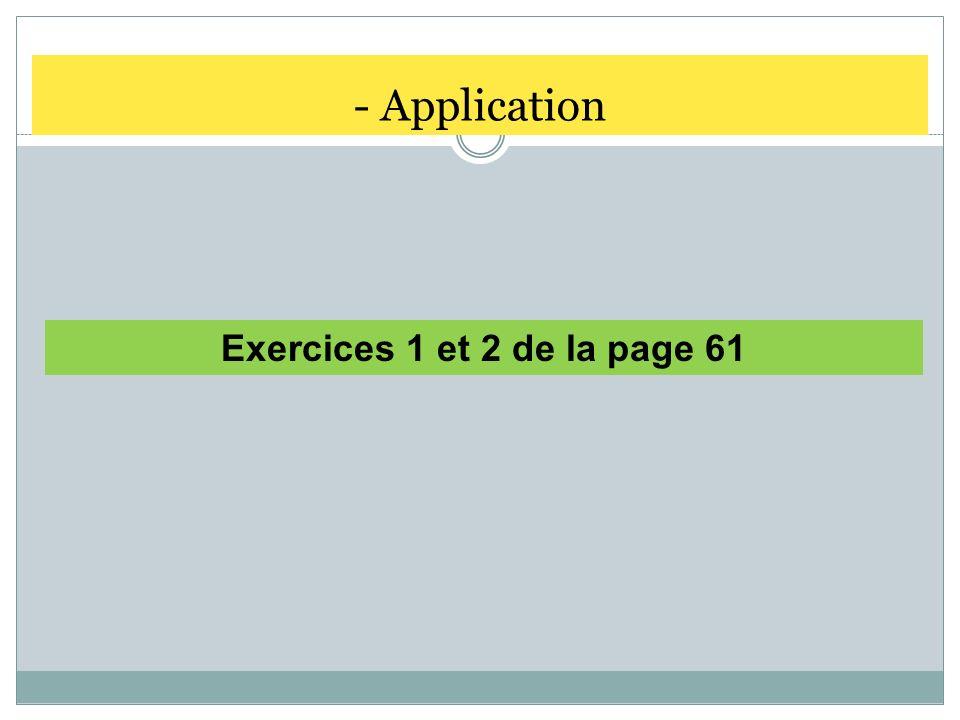 - Application Exercices 1 et 2 de la page 61