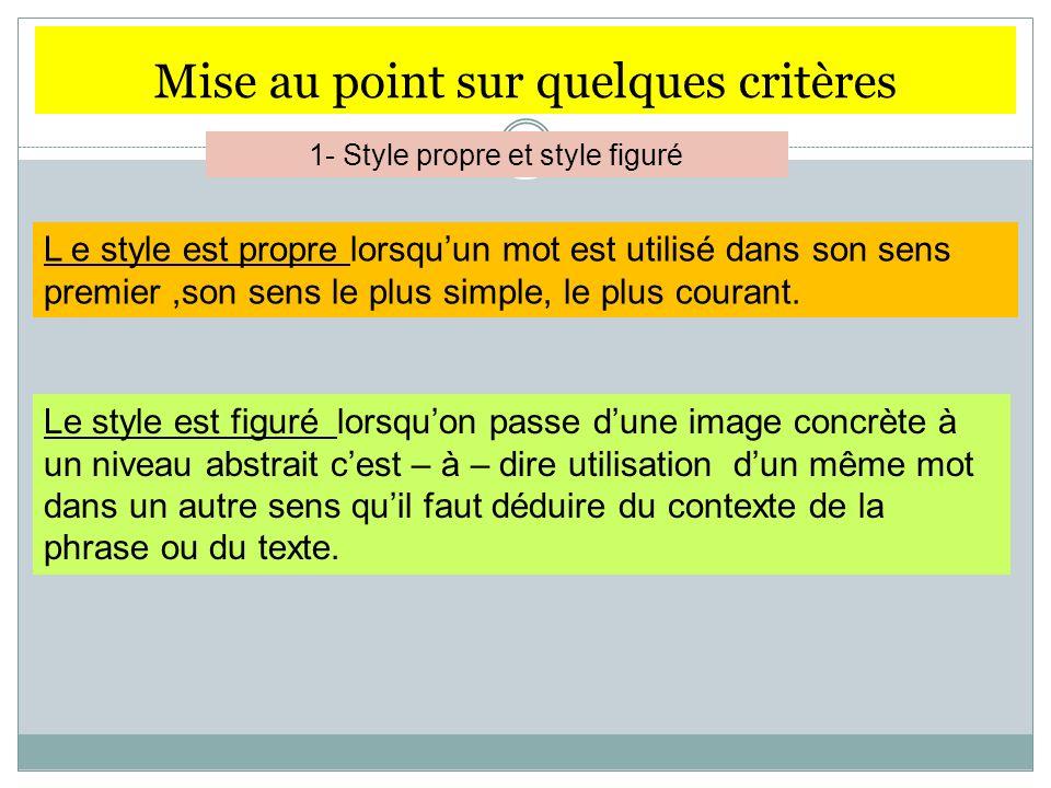 Mise au point sur quelques critères 1- Style propre et style figuré L e style est propre lorsquun mot est utilisé dans son sens premier,son sens le pl
