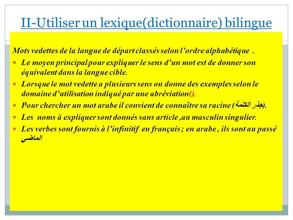 Mots vedettes de la langue de départ classés selon lordre alphabétique. Le moyen principal pour expliquer le sens dun mot est de donner son équivalent