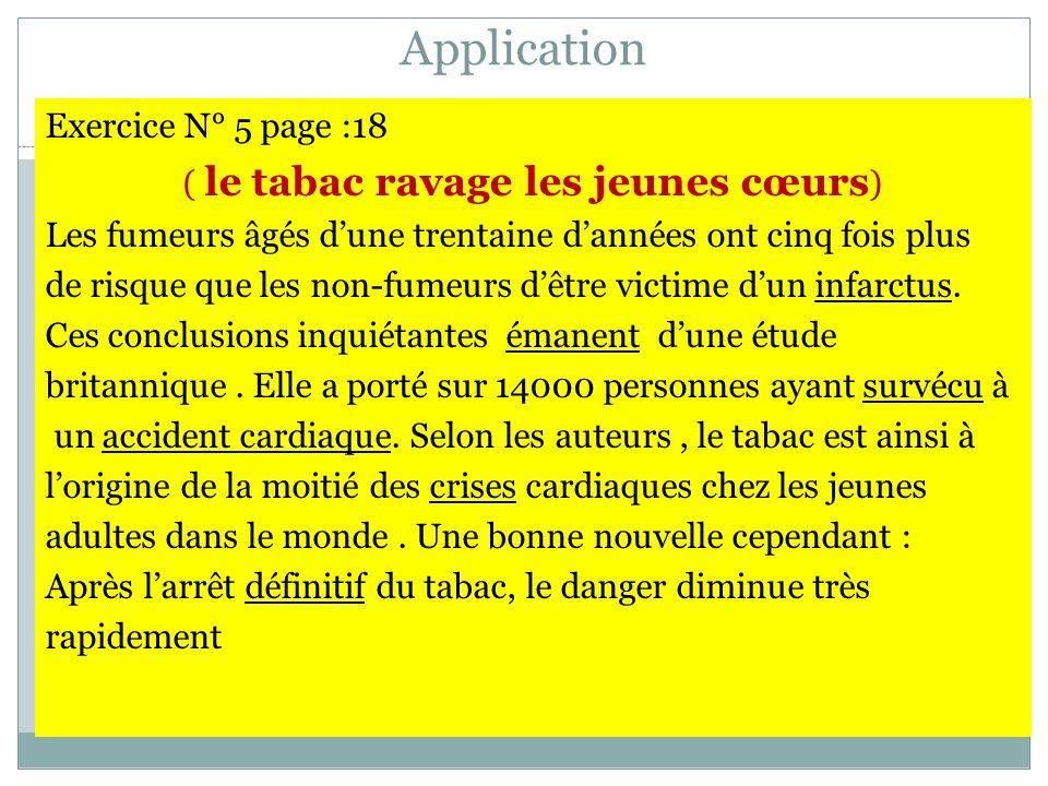 Application Exercice N° 5 page :18 ( le tabac ravage les jeunes cœurs ) Les fumeurs âgés dune trentaine dannées ont cinq fois plus de risque que les n