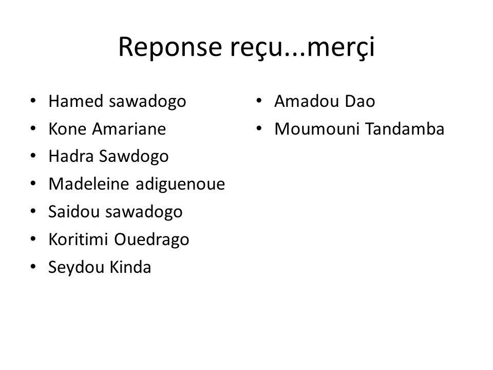 Reponse reçu...merçi Hamed sawadogo Kone Amariane Hadra Sawdogo Madeleine adiguenoue Saidou sawadogo Koritimi Ouedrago Seydou Kinda Amadou Dao Moumoun