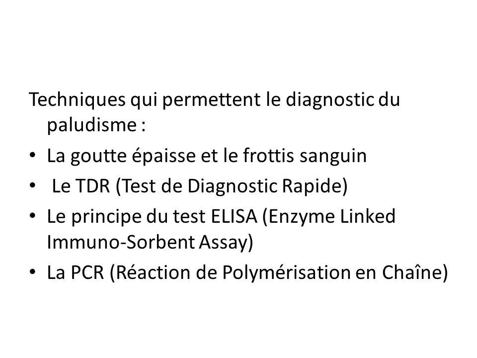 Techniques qui permettent le diagnostic du paludisme : La goutte épaisse et le frottis sanguin Le TDR (Test de Diagnostic Rapide) Le principe du test
