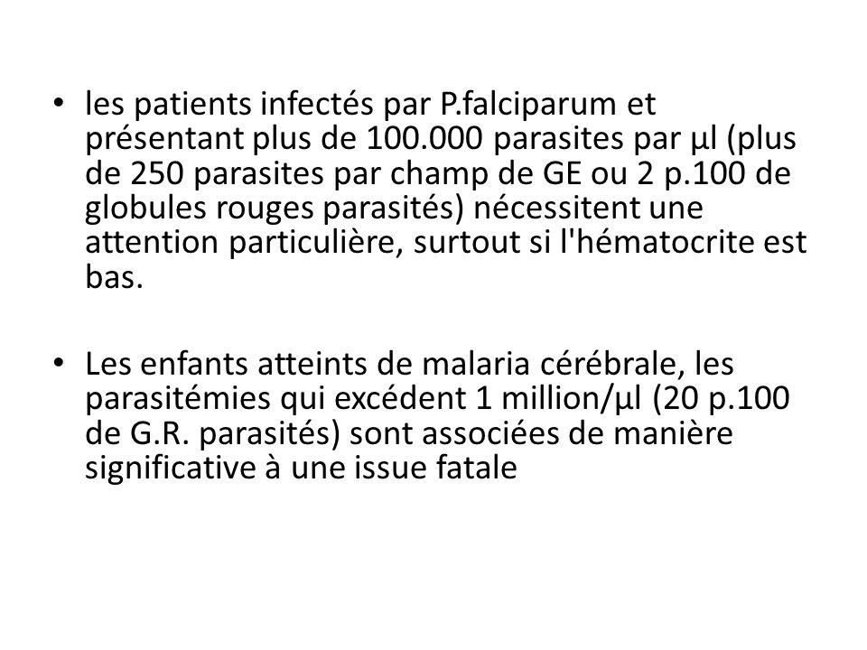 les patients infectés par P.falciparum et présentant plus de 100.000 parasites par µl (plus de 250 parasites par champ de GE ou 2 p.100 de globules ro