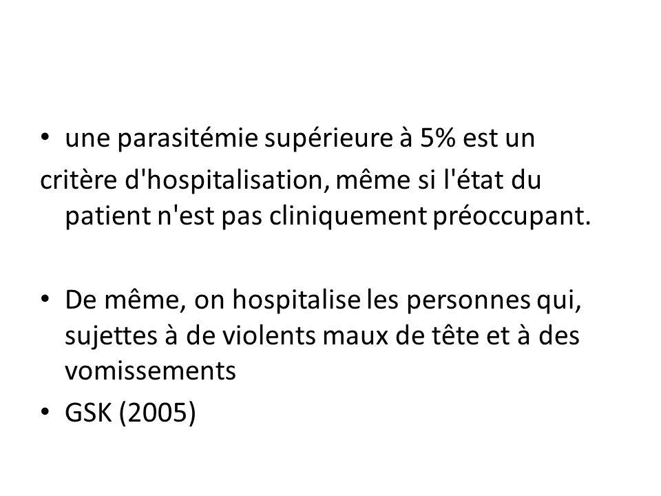 une parasitémie supérieure à 5% est un critère d'hospitalisation, même si l'état du patient n'est pas cliniquement préoccupant. De même, on hospitalis