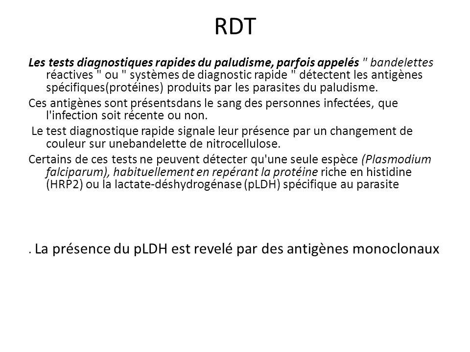 RDT Les tests diagnostiques rapides du paludisme, parfois appelés