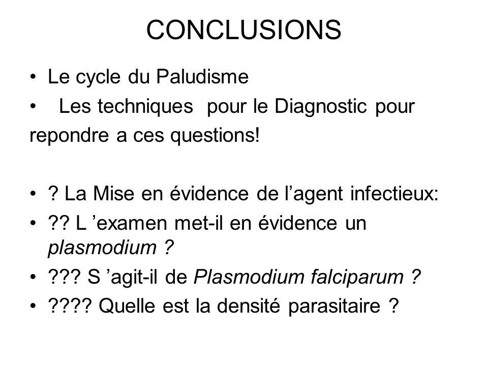 CONCLUSIONS Le cycle du Paludisme Les techniques pour le Diagnostic pour repondre a ces questions! ? La Mise en évidence de lagent infectieux: ?? L ex
