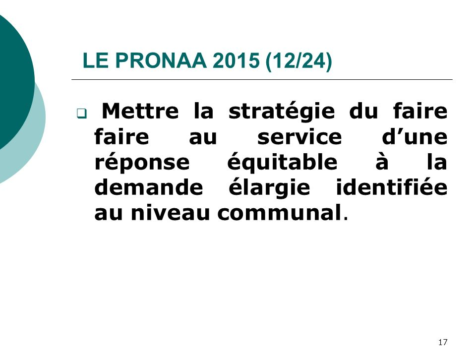 LE PRONAA 2015 (12/24) Mettre la stratégie du faire faire au service dune réponse équitable à la demande élargie identifiée au niveau communal. 17