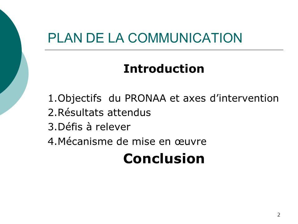 PLAN DE LA COMMUNICATION Introduction 1.Objectifs du PRONAA et axes dintervention 2.Résultats attendus 3.Défis à relever 4.Mécanisme de mise en œuvre