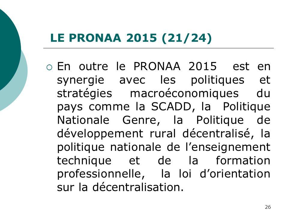 LE PRONAA 2015 (21/24) En outre le PRONAA 2015 est en synergie avec les politiques et stratégies macroéconomiques du pays comme la SCADD, la Politique