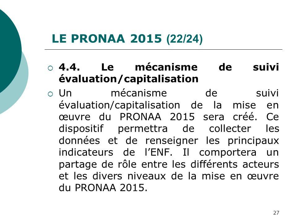 LE PRONAA 2015 (22/24) 4.4. Le mécanisme de suivi évaluation/capitalisation Un mécanisme de suivi évaluation/capitalisation de la mise en œuvre du PRO