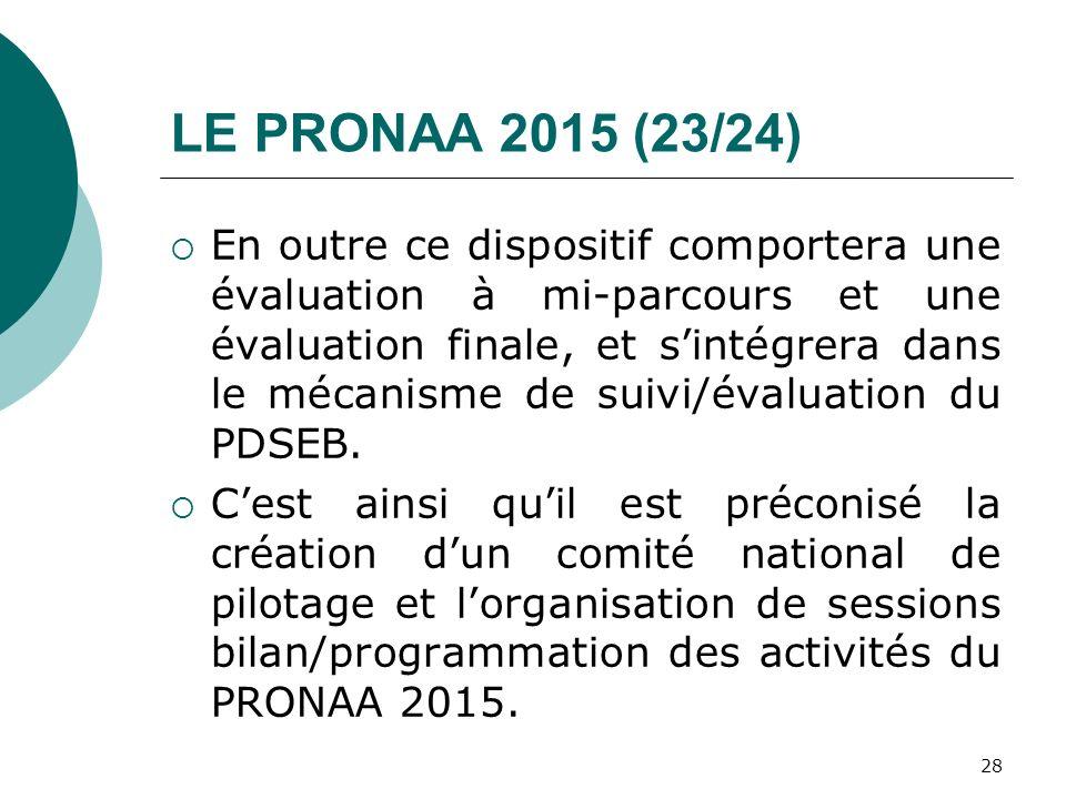 LE PRONAA 2015 (23/24) En outre ce dispositif comportera une évaluation à mi-parcours et une évaluation finale, et sintégrera dans le mécanisme de sui