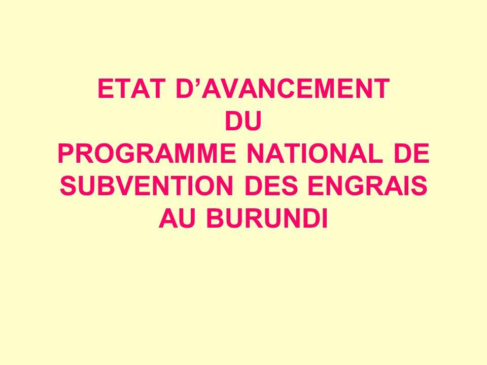 ETAT DAVANCEMENT DU PROGRAMME NATIONAL DE SUBVENTION DES ENGRAIS AU BURUNDI