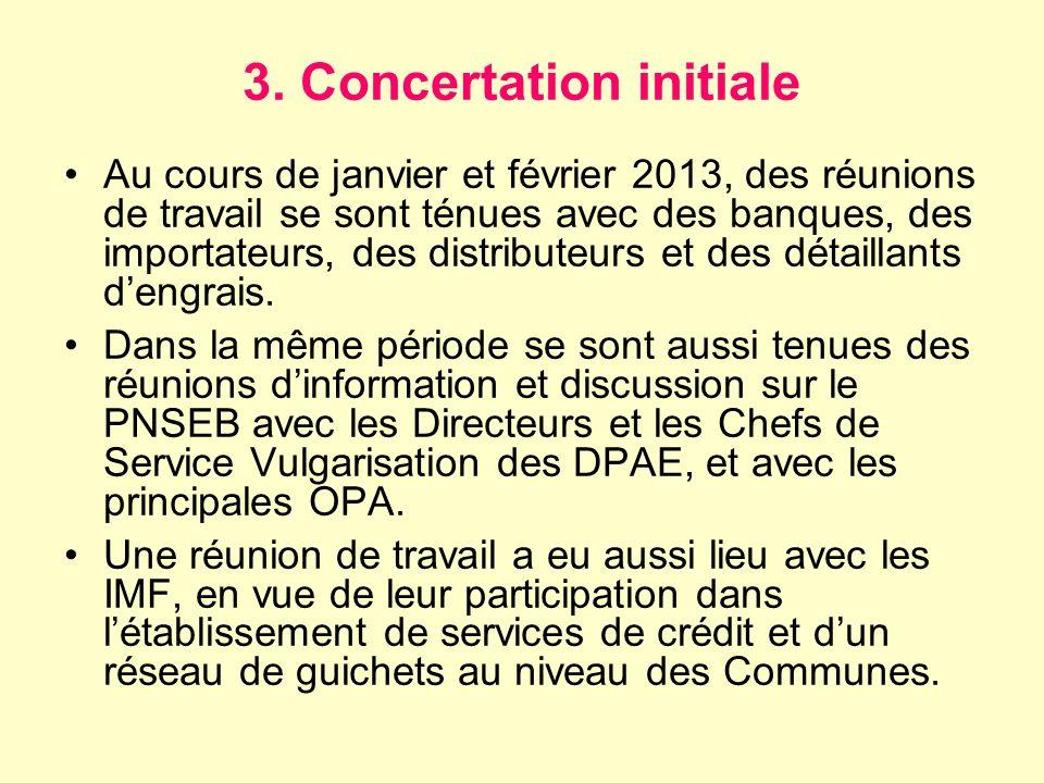 3. Concertation initiale Au cours de janvier et février 2013, des réunions de travail se sont ténues avec des banques, des importateurs, des distribut